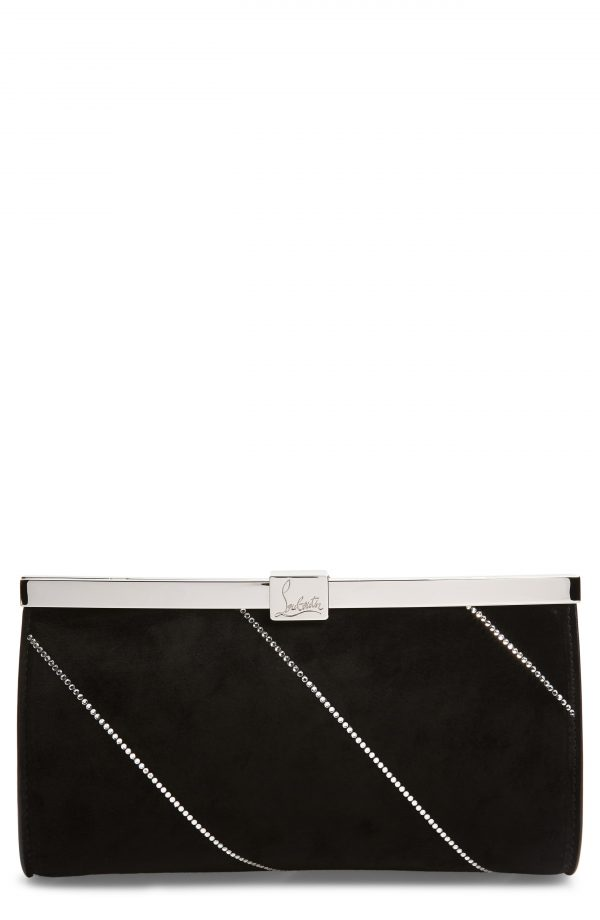Christian Louboutin Small Palmette Embellished Clutch - Black