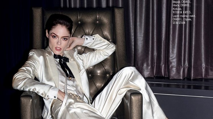 Coco Rocha Models Fashionable Suits for ELLE Croatia