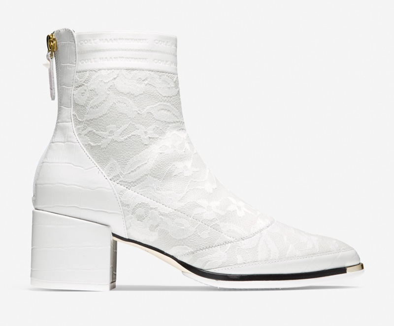 Cole Haan x Rodarte Bootie in White Croc Print with White Lace $240