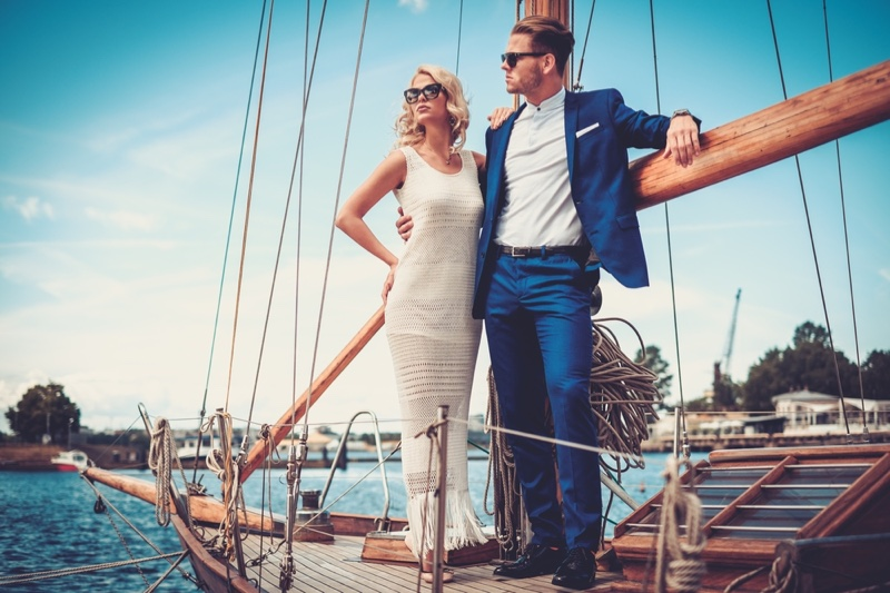 Couple Cruise Boat Fashion White Dress Suit