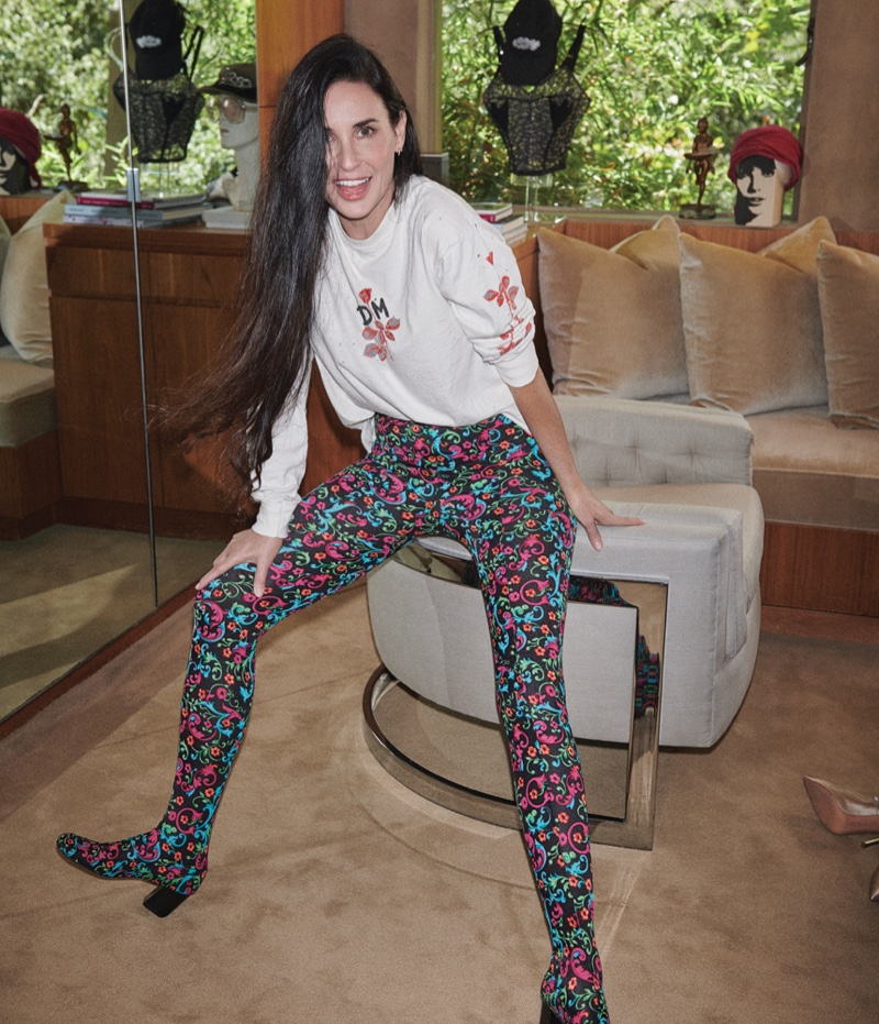 Demi Moore poses at home for the feature