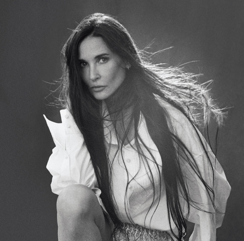 Demi Moore poses in Alexander Wang top and pants