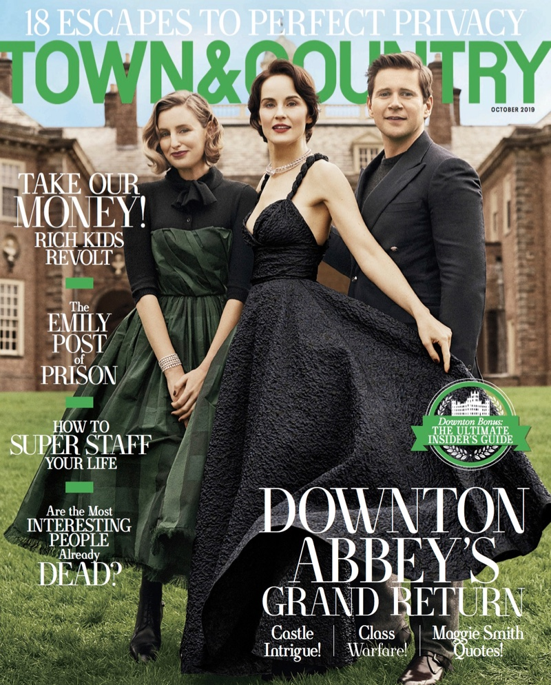 Laura Carmichael, Michelle Dockery and Allen Leech on Town & Country Magazine October 2019 Cover