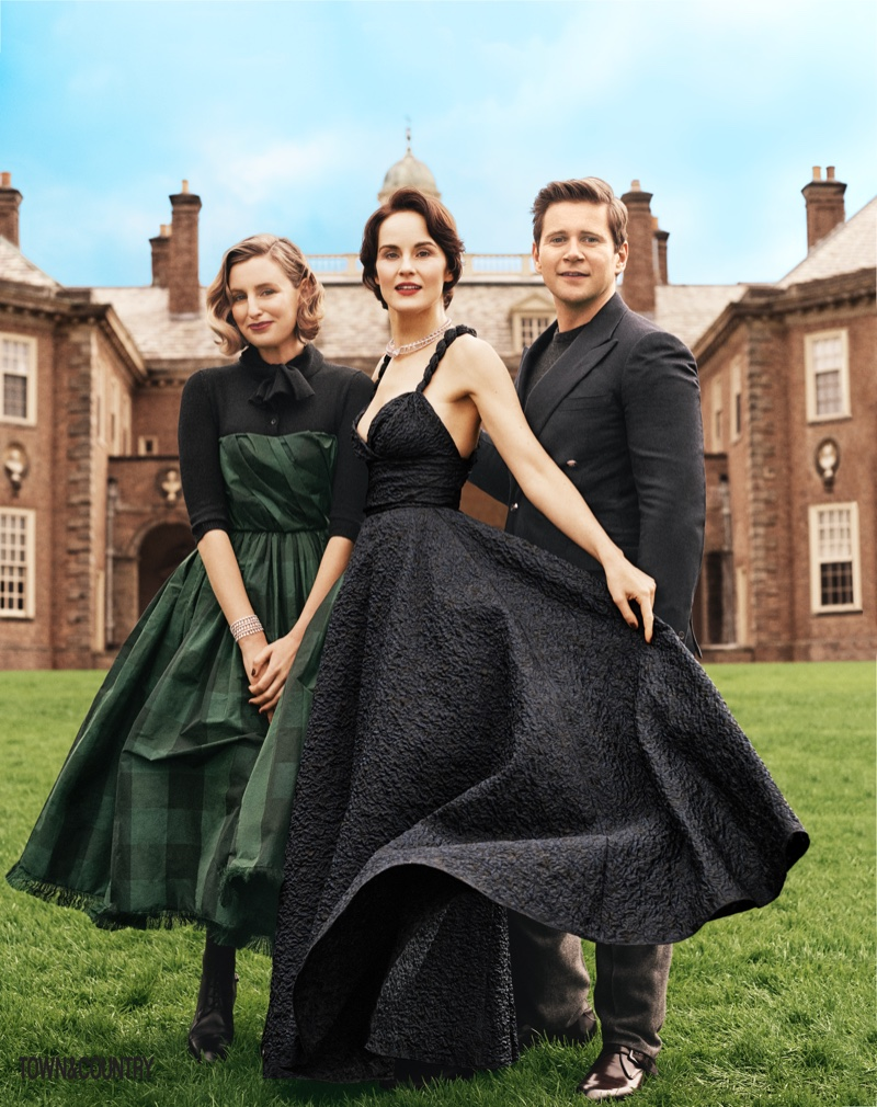 Laura Carmichael wears Dior dress and bodysuit, Michelle Docker poses in Dior dress and Allen Leech wears Ralph Lauren blazer, sweater and trousers