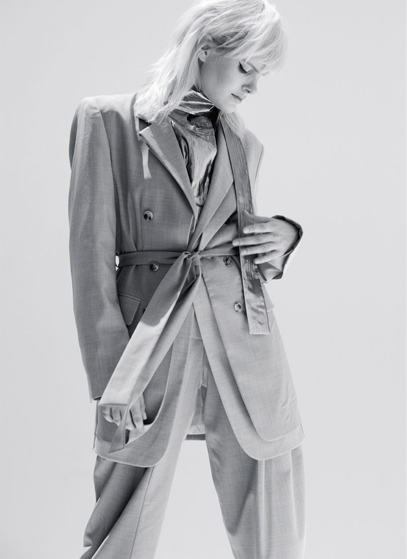 Elise Agee Poses in Power Suiting for Marie Claire UK