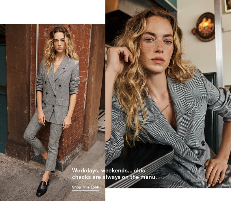 FRAME Double Breasted Blazer $595, Cropped Perfect Trousers $325 and 3.1 Phillip Lim Alexa Loafers $425