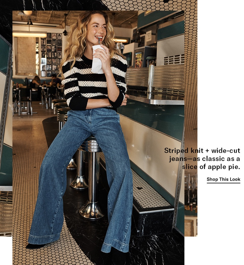 FRAME Striped Open Knit Crew $425 and Metropolitan Pants $250