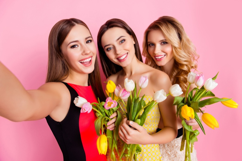 Girls Selfie Dresses Flowers Smiling Models