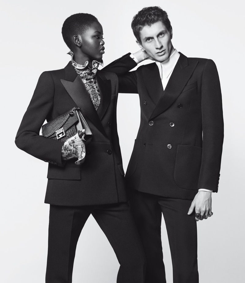 Adut Akech and Henry Kitcher suit up in Givenchy Winter of Eden campaign