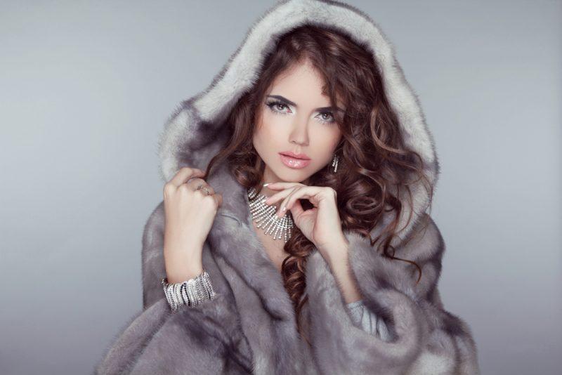Glamour Model in Fur Coat
