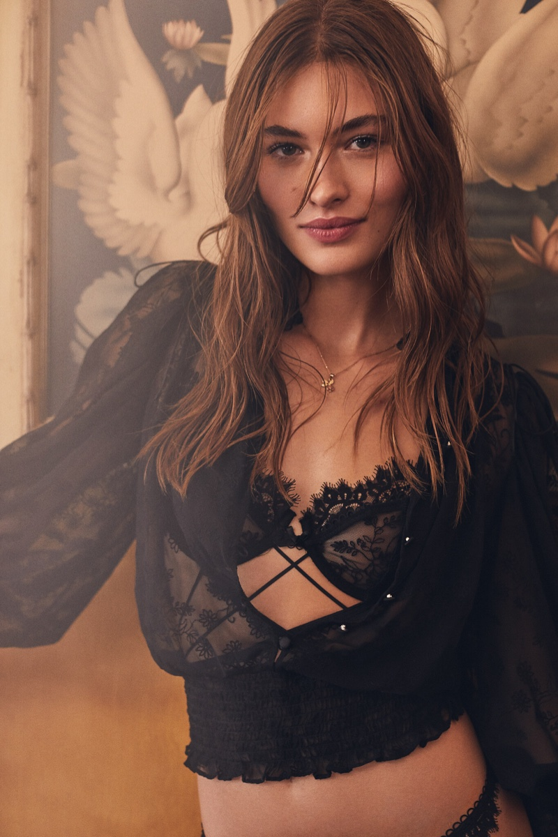 Grace Elizabeth looks lovely in lace with For Love & Lemons x Victoria's Secret campaign