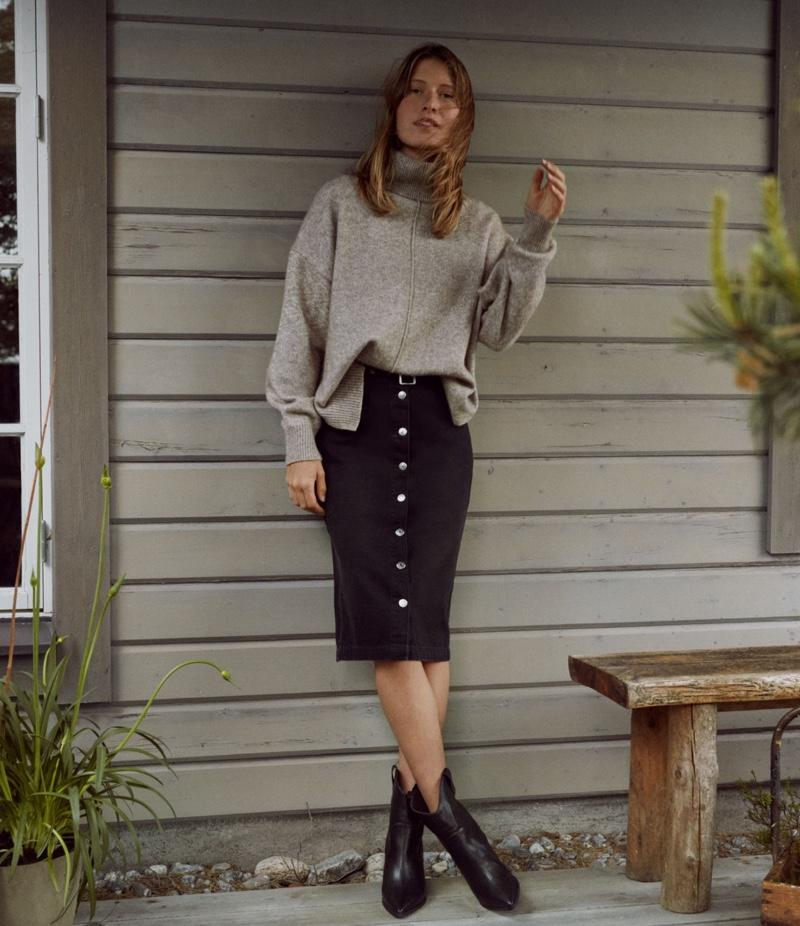 H&M Conscious Denim Skirt with Belt