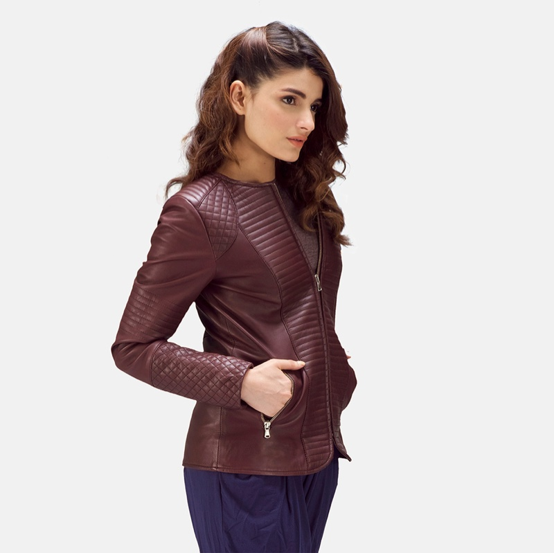 The Jacket Maker Nexi Quilted Maroon Leather Jacket $300
