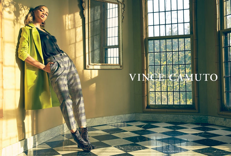 Model Jasmine Sanders appears in Vince Camuto fall-winter 2019 campaign