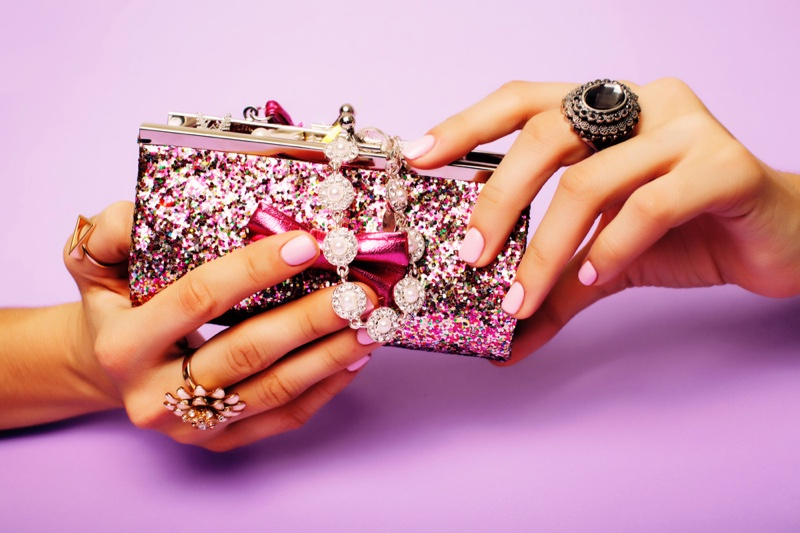Jewelry Bag Manicured Hands Pink Nails