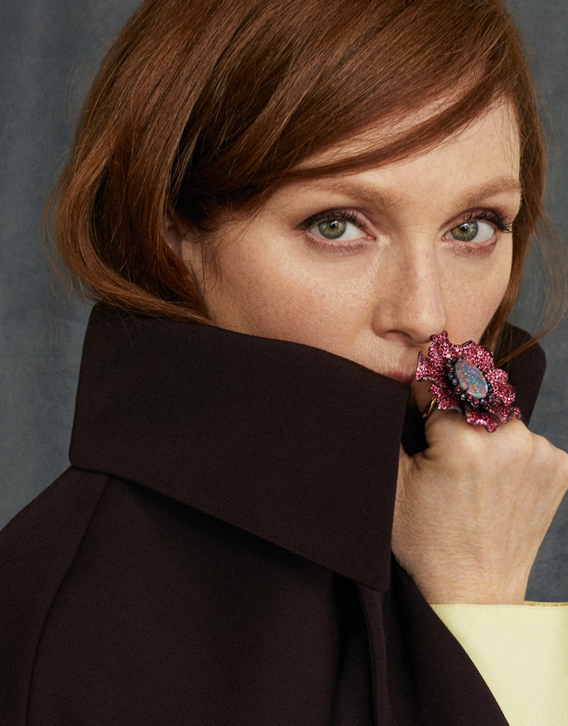 Photographed by Xavi Gordo, Julianne Moore wears fall looks