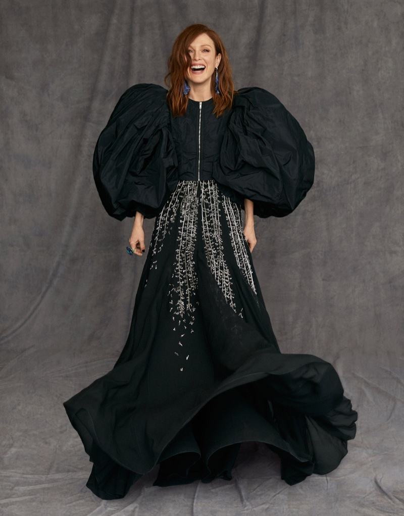 Actress Julianne Moore poses in Givenchy gown with Chopard jewelry