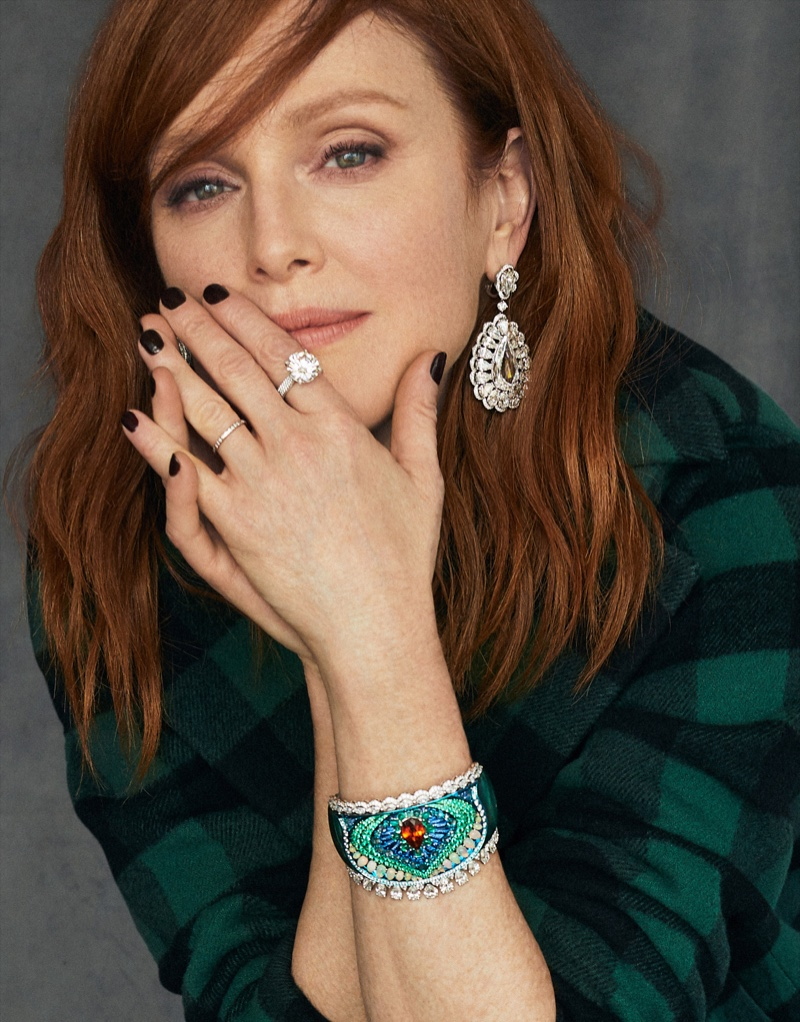 Julianne Moore wears Dior jacket with Chopard jewelry