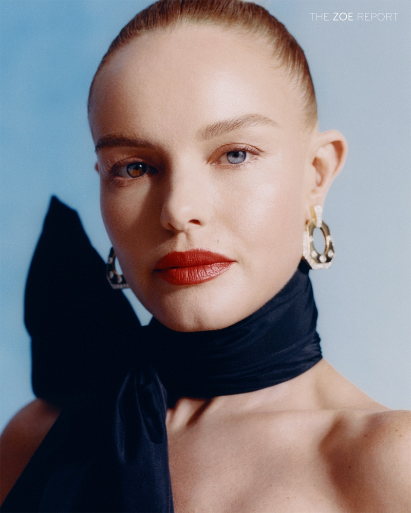 Ready for her closeup, Kate Bosworth wears Erdem neck tie and David Webb earrings