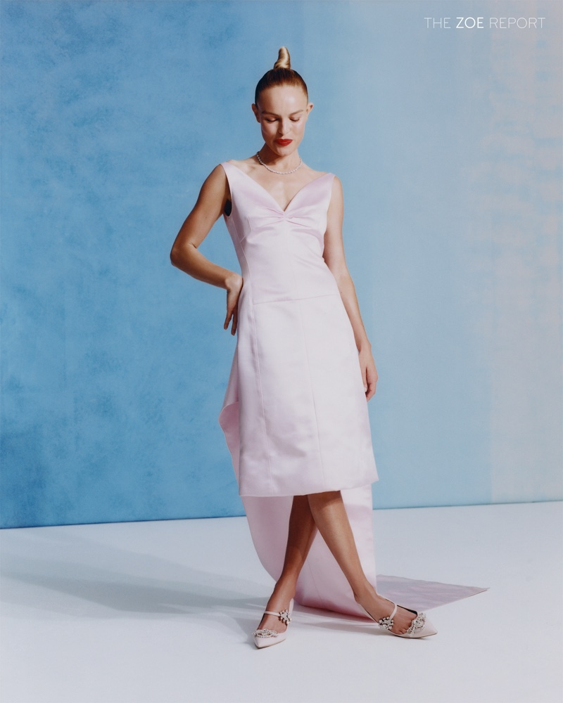 Looking pretty in pink, Kate Bosworth wears Paco Rabanne dress and shoes