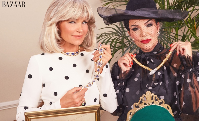 Dressed in polka dots, Yolanda Hadid and Kris Jenner channel 1980s glamour