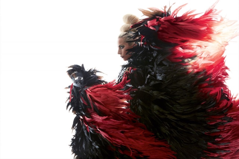 Rocking feathers, Lady Gaga wears Aura Tout Vu dress