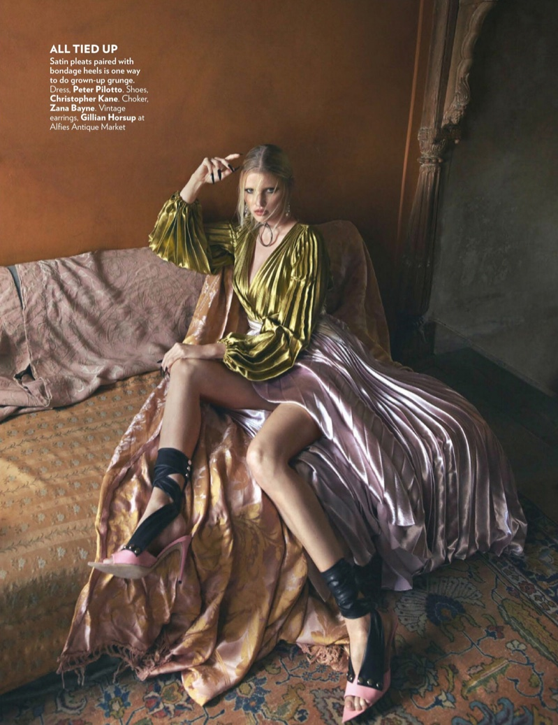 Lara Stone Models Fashion Forward Looks in Vogue India
