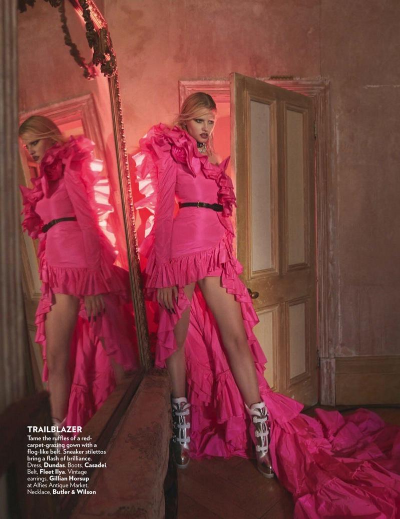 Lara Stone Models Fashion Forward Looks in Vogue India