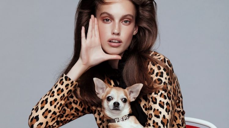 Laura Sorensen Poses With Stylish Dogs for ELLE Serbia