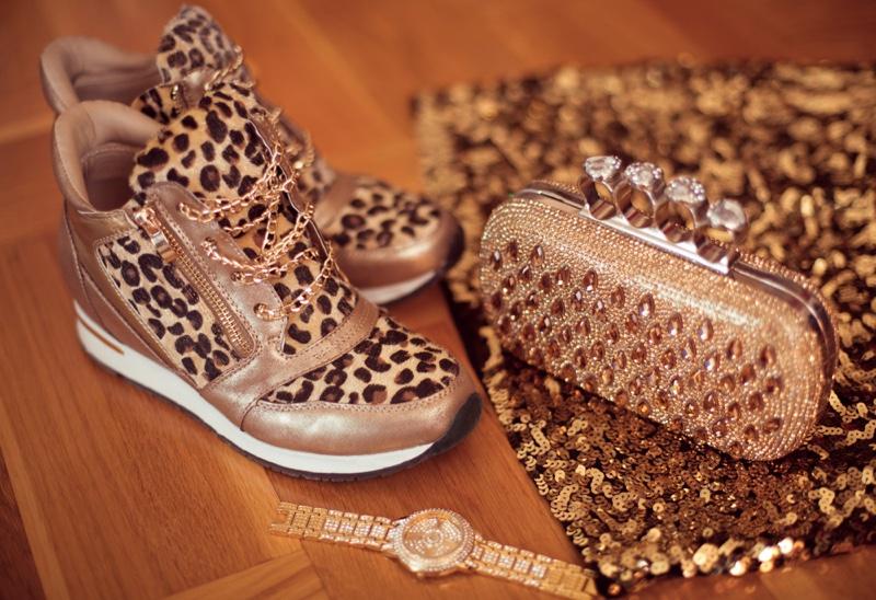 Leopard Print Sneakers Bag Watch Glitter