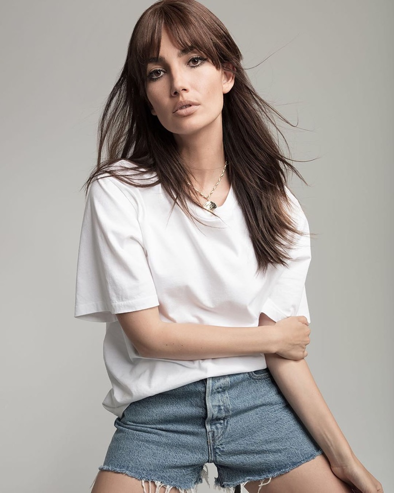 Lily Aldridge poses for Levi's Made & Crafted x Lily Aldridge campaign
