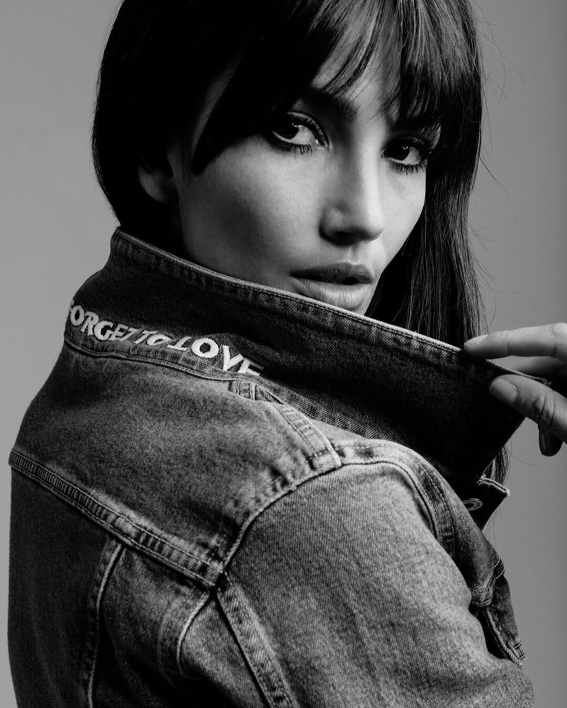 Lily Aldridge shows off bangs in Levi's Made & Crafted collaboration campaign