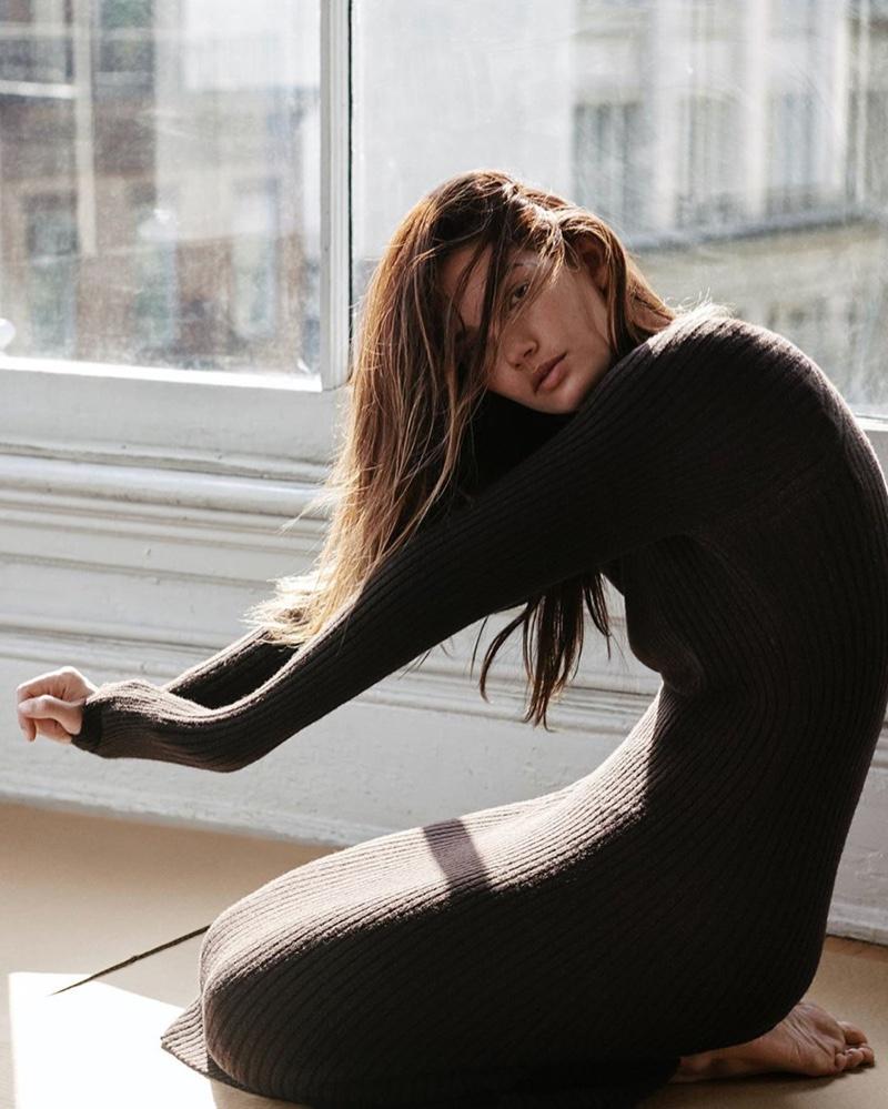 Model Lily Aldridge wears rib knit dress from Thakoon
