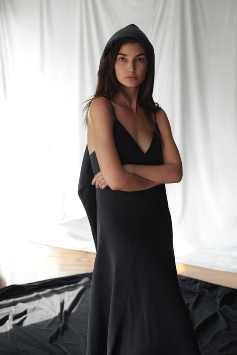 Lily Aldridge poses in Thakoon slip dress