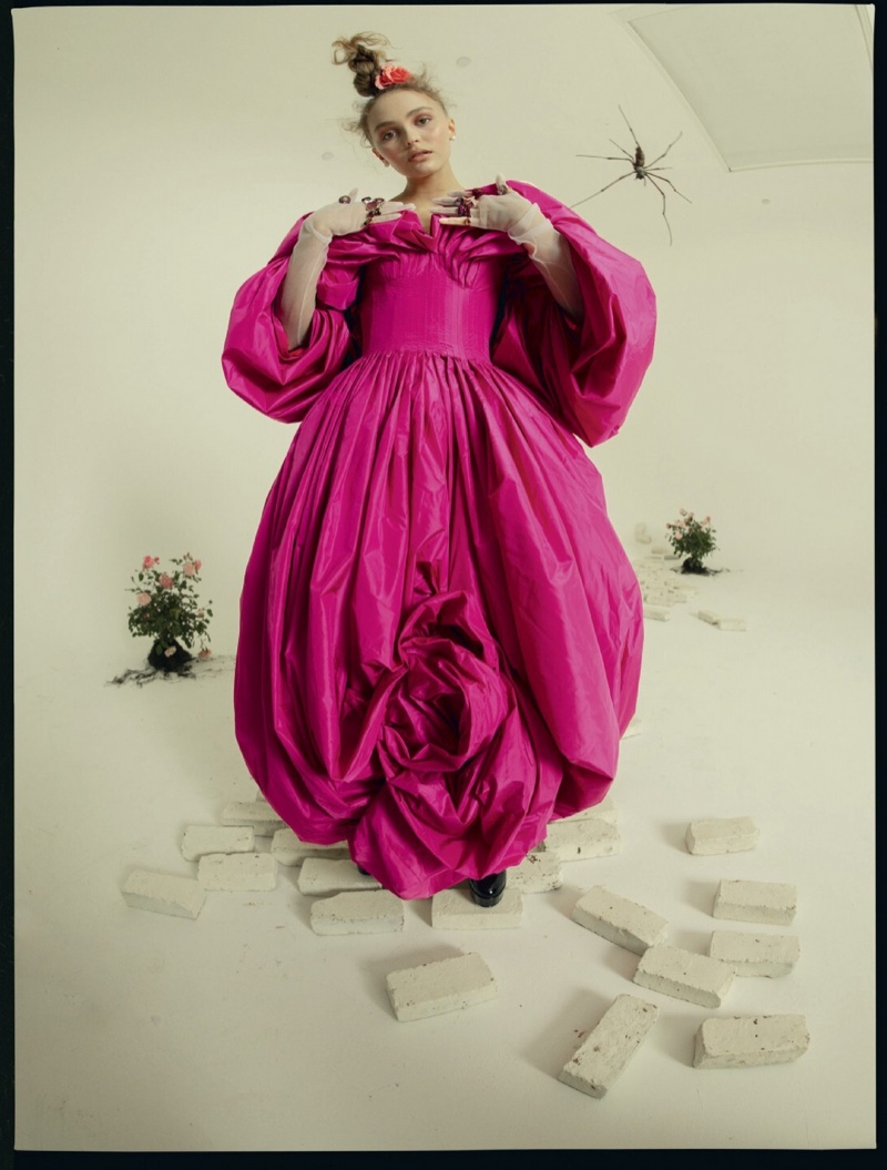 Actress Lily-Rose Depp wears Alexander McQueen dress