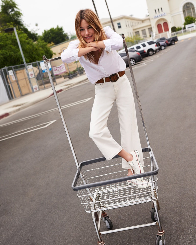 Dressed in white, Camille Rowe fronts Lucky brand fall-winter 2019 campaign