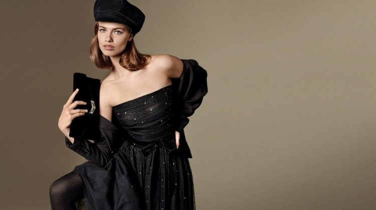 Hailey Clauson poses in little black dress for Luisa Spagnoli fall-winter 2019 campaign