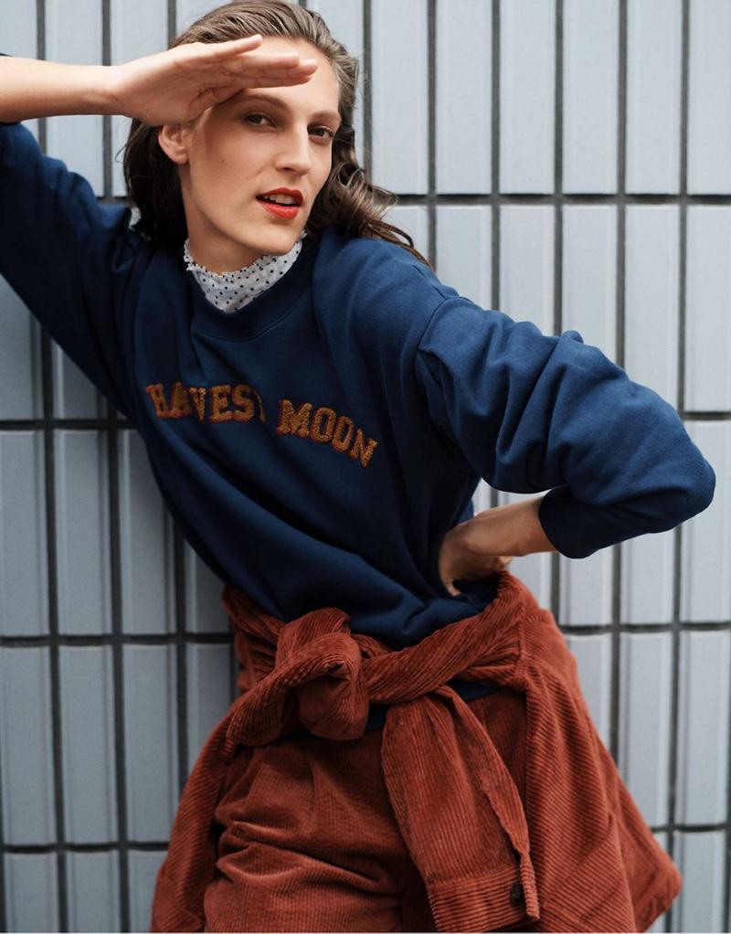 Madewell Harvest Moon Pleat-Sleeve Sweatshirt $75, Corduroy Swing Chore Coat $128 and Pleated Wide-Leg Full-Length Pants in Corduroy $118