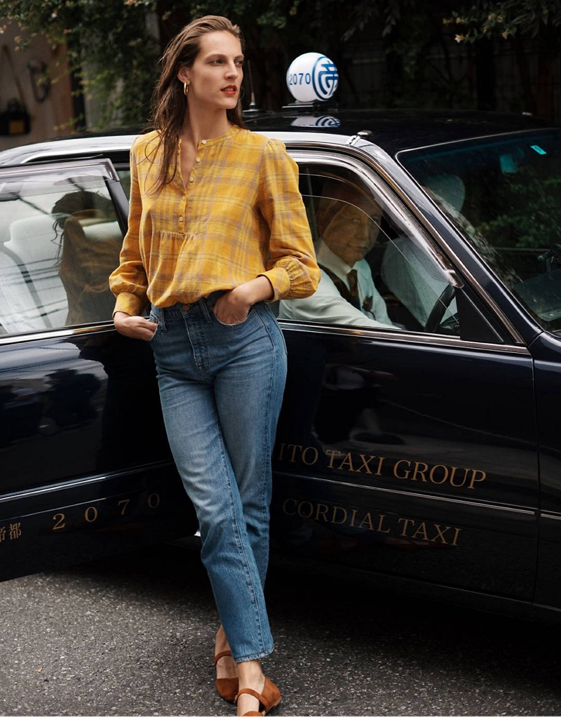 Madewell Flannel Leysfield Popover Shirt $79.50, Classic Straight Jeans in Peralta Wash $128 and The Alina Mary-Jane Flat in Suede $118