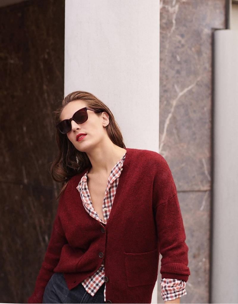 Madewell Short Kent Ex-Boyfriend Cardigan Sweater $89.50, Meadow Shirt in Check $79.50 and Venice Flat-Frame Sunglasses $65