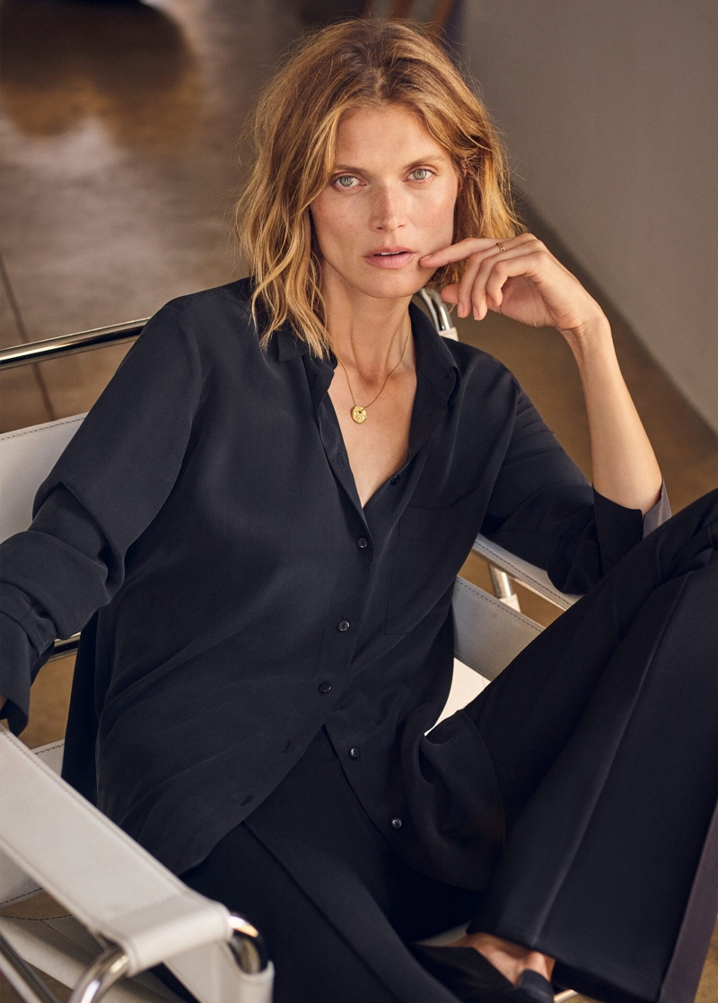 Dressed in black, Malgosia Bela fronts Mango Selected fall-winter 2019 lookbook