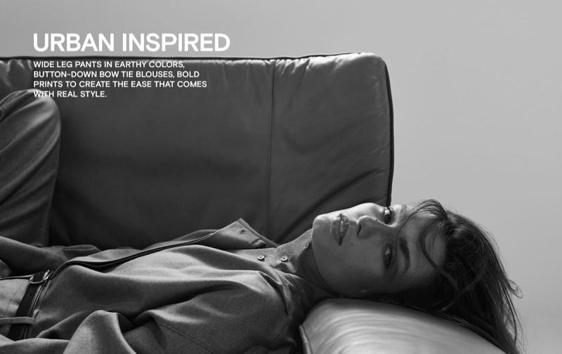 Andreea Diaconu wears minimal looks for Massimo Dutti First View Report fall-winter 2019 lookbook