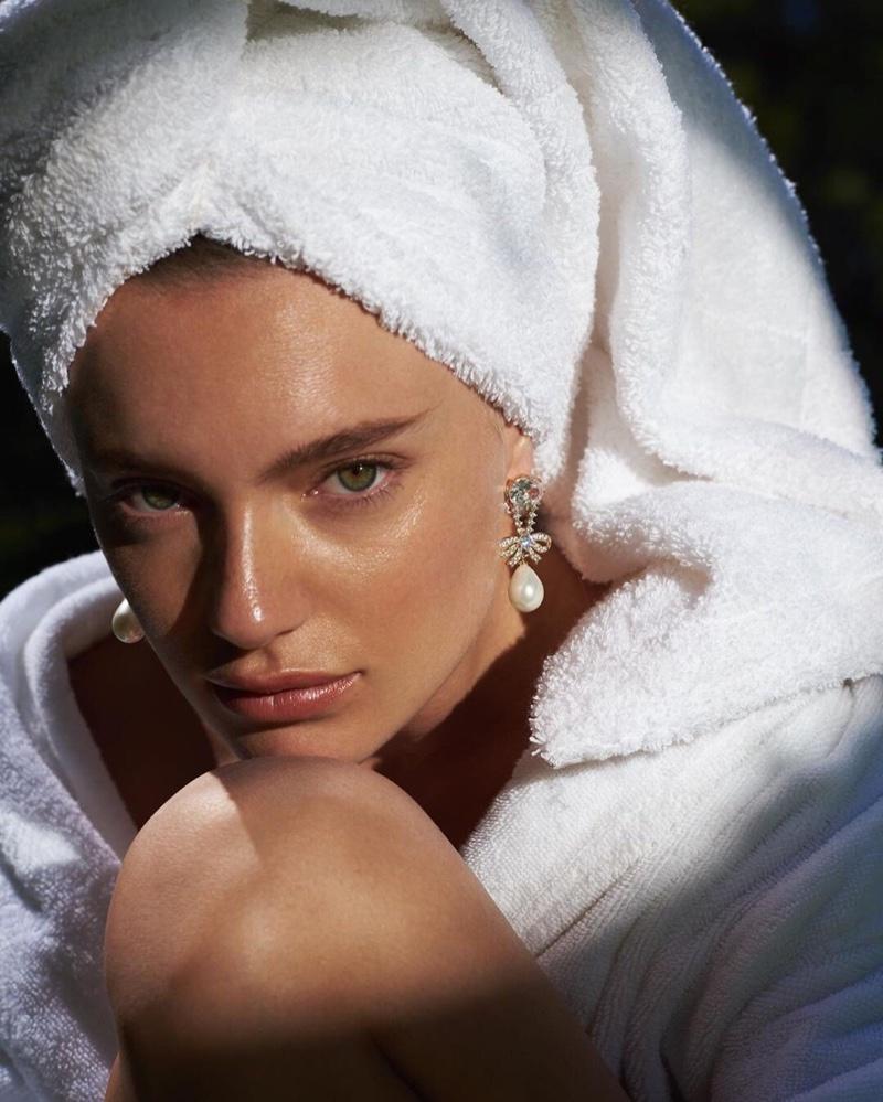 Model Maya Stepper wears Fallon The Knightsbridge earring