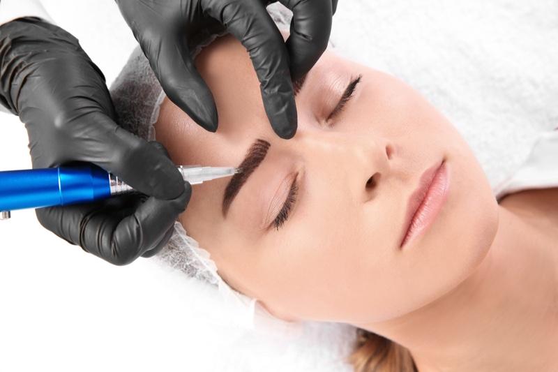Microblading Eyebrows Closeup Tool