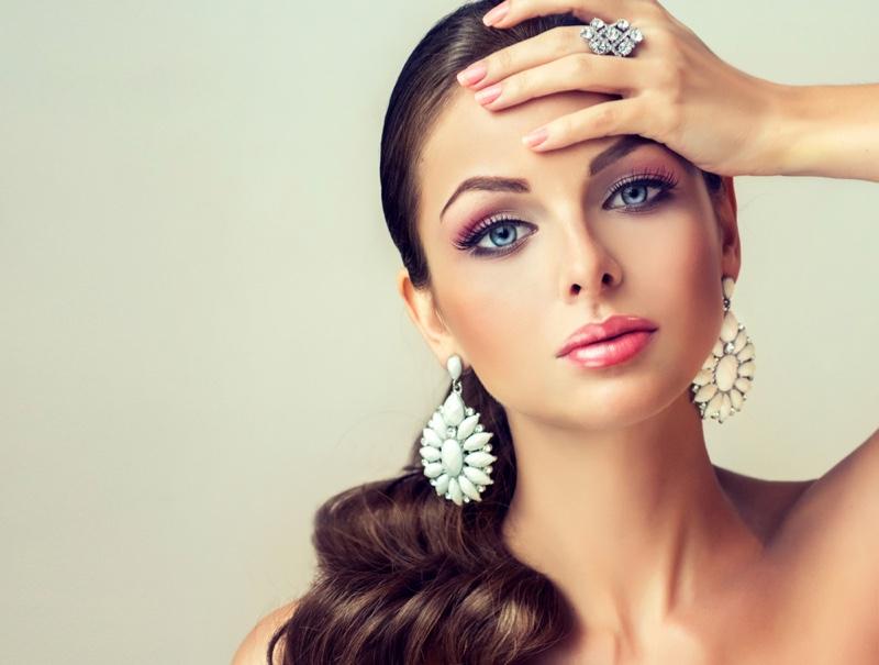 Model Earrings Ring Jewelry Beauty Makeup