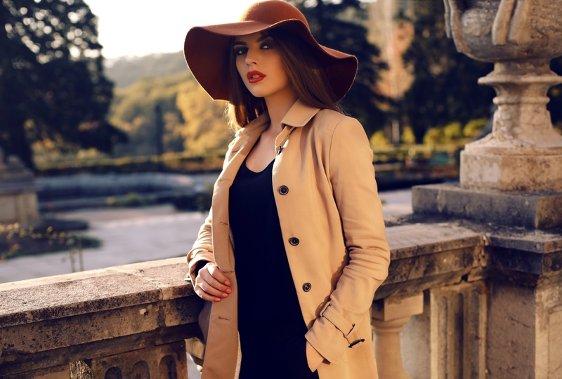Model Fall Autumn Fashion Hat Coat Dress