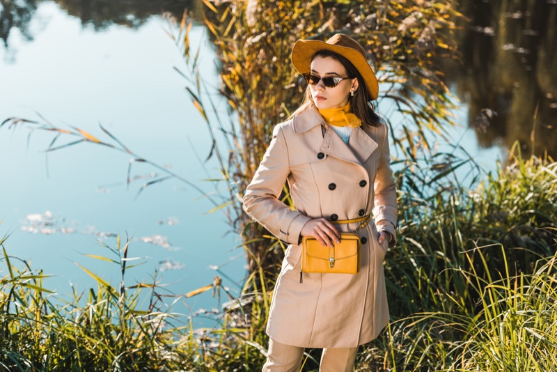Model Outdoors Trench Coat Tailored Yellow Hat Bag