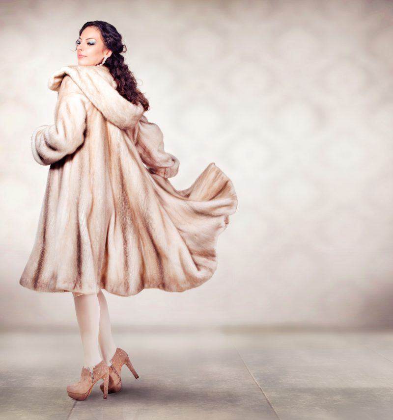 Model Posing in Pretty Fur Coat