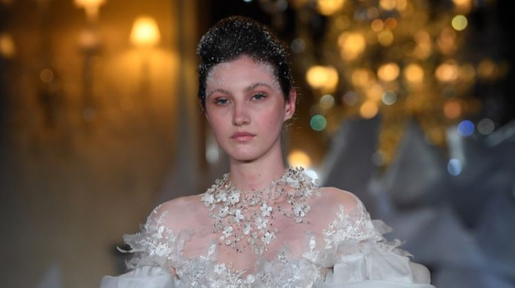 Model walks the runway during Mira Zwillinger Spring 2019 Bridal fashion show.