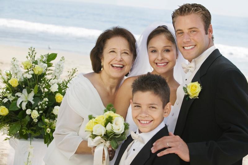 Mother Bride Groom Brother Beach Wedding Portrait